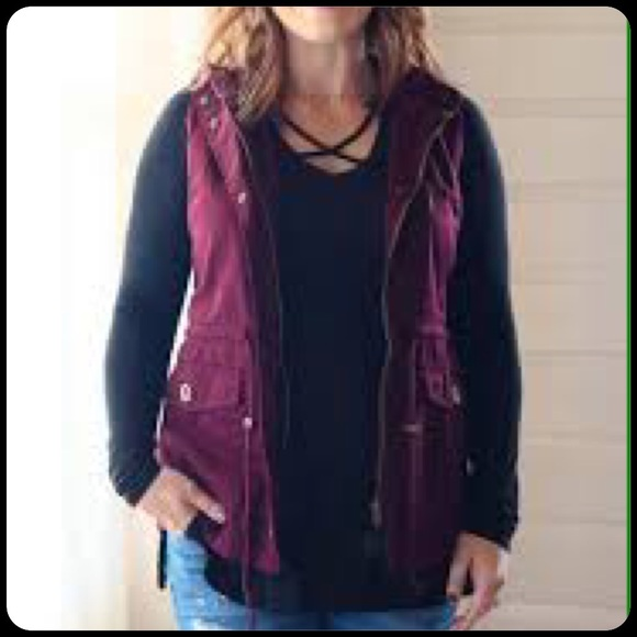 Jackets & Blazers - Mulberry Hooded Utility Vest Plus Size
